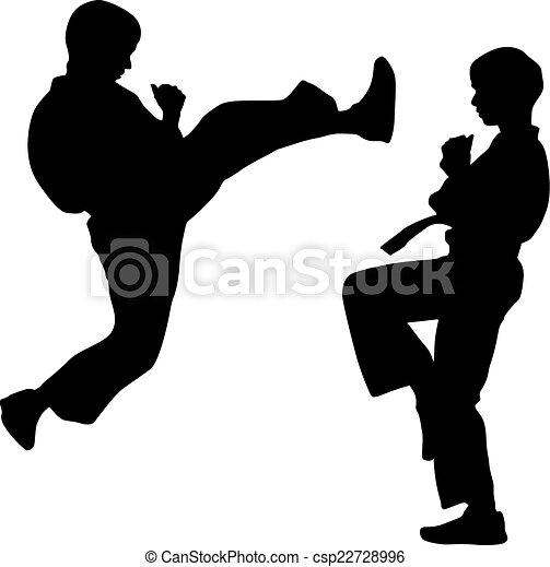 black silhouettes of karate. Sport vector illustration. - csp22728996