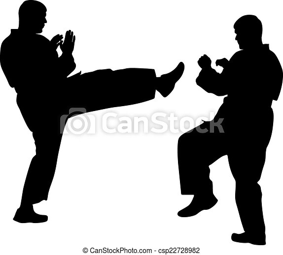 black silhouettes of karate. Sport vector illustration. - csp22728982