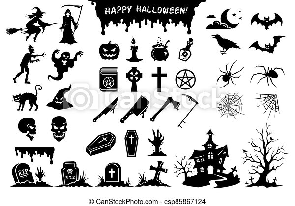 Black silhouettes of monsters, creatures and elements for Halloween - csp85867124