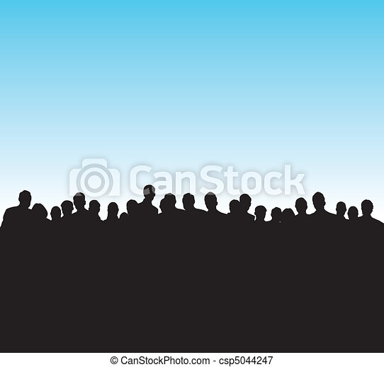 black silhouettes of people - csp5044247