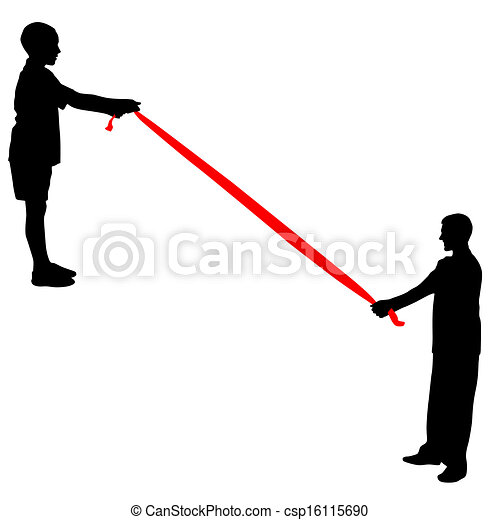 Black silhouettes of people pulling rope. Vector illustration. - csp16115690