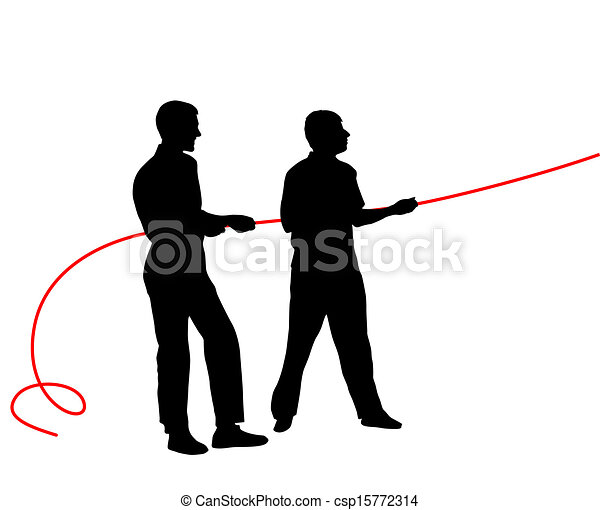Black silhouettes of people pulling rope?. Vector illustration. - csp15772314