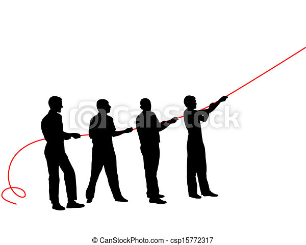 Black silhouettes of people pulling rope?. Vector illustration. - csp15772317