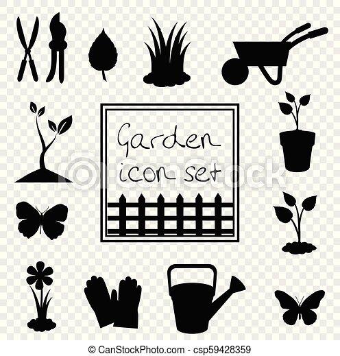 Black silhouettes of vector garden icon illustrations