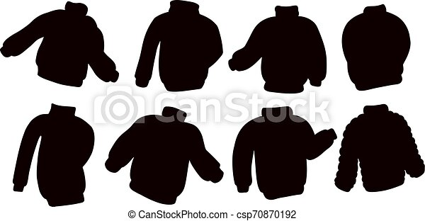Black silhouettes sweater jumper collection. Set of casual clothing template symbols - csp70870192