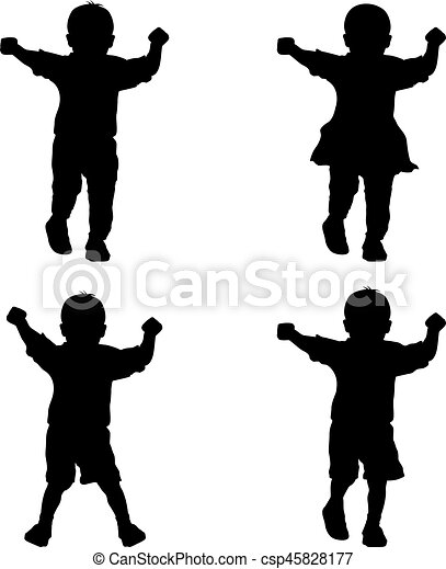 Black silhouettes young children on white background - csp45828177