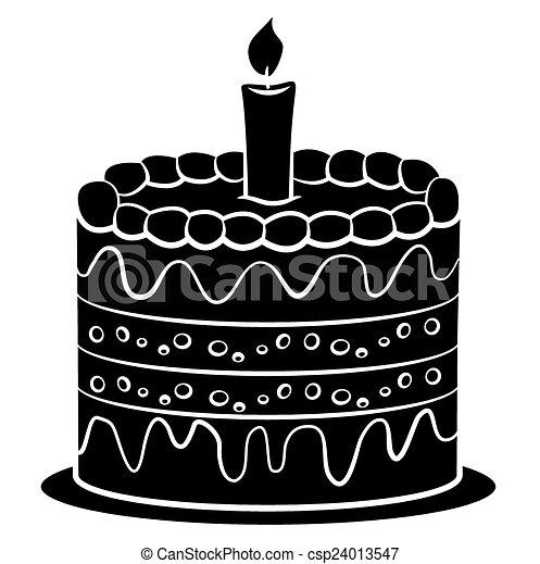 Black Silhoutte Of Birthday Cake