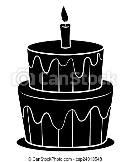 Black silhoutte of birthday cake eps vector Search Clip Art