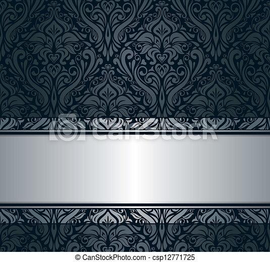 Black Silver Vintage Wallpaper