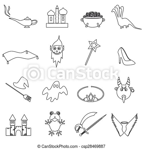 black simple fairy tales outline icons set eps10 - csp28469887