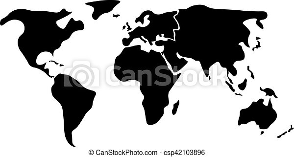 Black simplified world map divided to continents world map divided world map divided to six continents in black north america south america africa europe asia and australia oceania simplified silhouette blank vector gumiabroncs Images