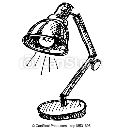 Black Sketch Drawing Of Lamp   Csp18531698