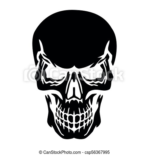 Black skull silhouette on white background vector