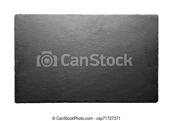 Black slate roof tile isolated on white background. - csp71727371