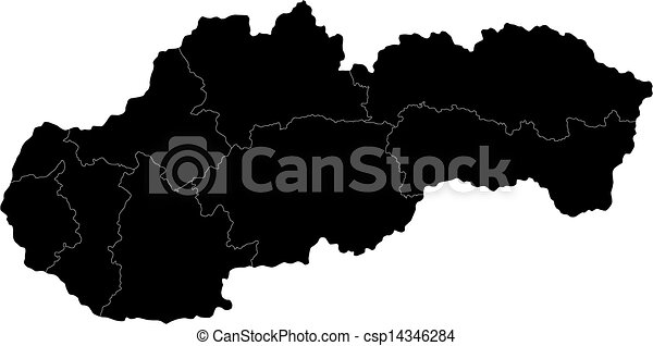 Black slovakia map Administrative division of the slovak vector