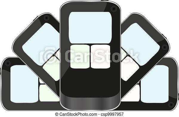 black smart phone isolated on white background - csp9997957