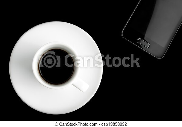 black smartphone and cup of coffee - csp13853032