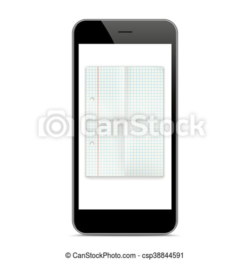 Black Smartphone Checked Folded Paper Mockup - csp38844591