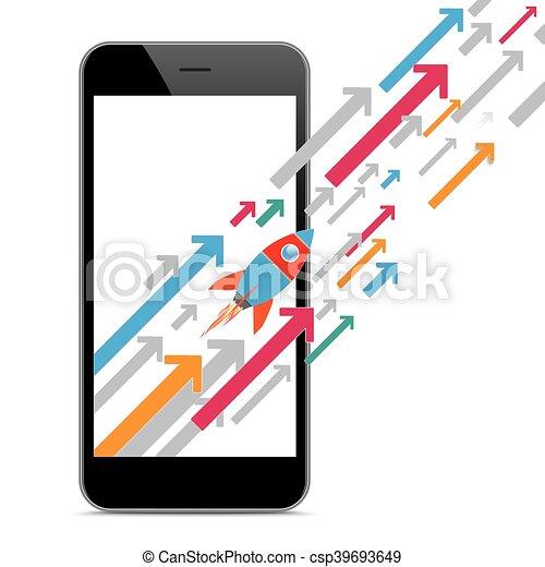 Black Smartphone Growth Arrows Rocket - csp39693649