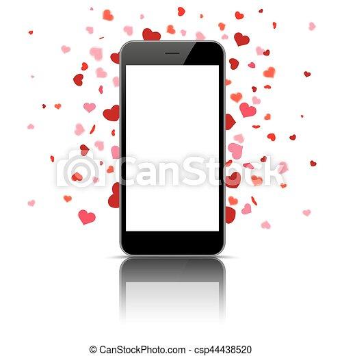 Black Smartphone Hearts - csp44438520