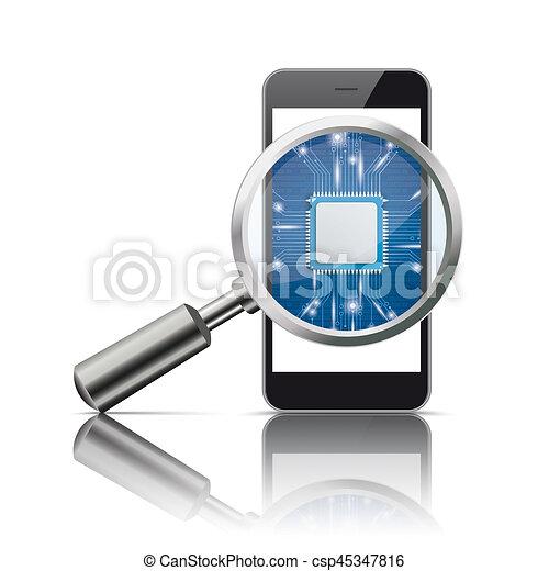 Black Smartphone Loupe Microchip Mirror - csp45347816