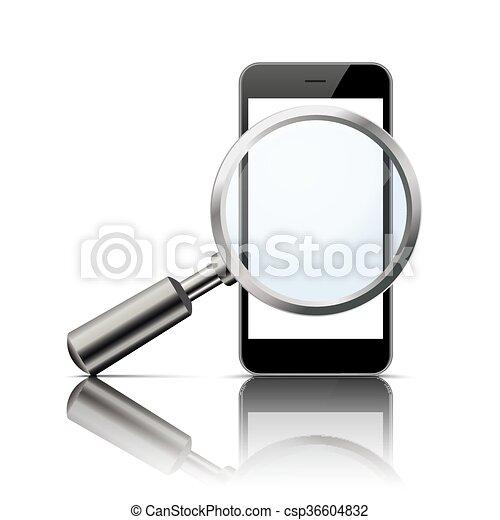 Black Smartphone Loupe Mirror Mockup - csp36604832