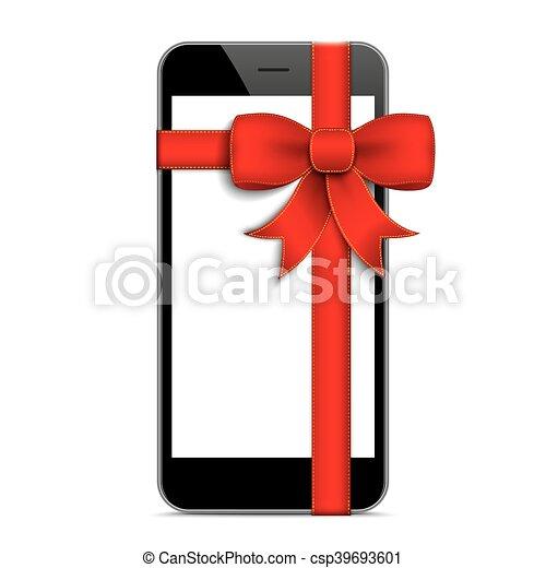 Black Smartphone Red Gift Ribbon - csp39693601