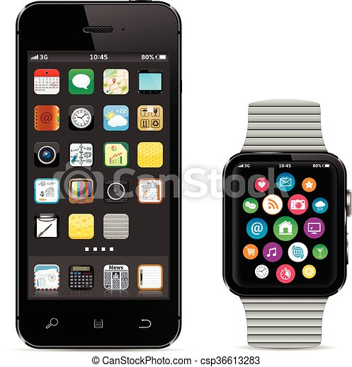 Black smartphone with smart watch - csp36613283