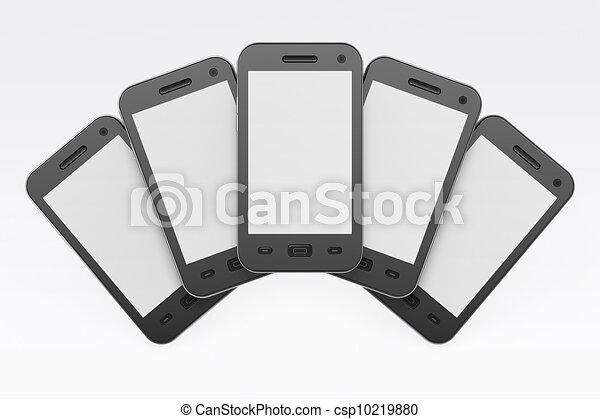 Black smartphones on white background, 3d render - csp10219880