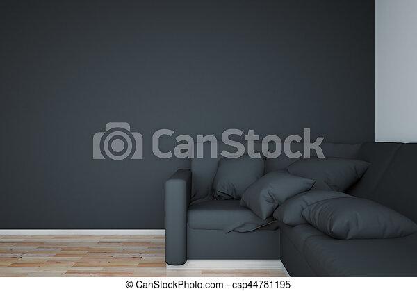 Astounding Black Sofa And Blank Wall Machost Co Dining Chair Design Ideas Machostcouk