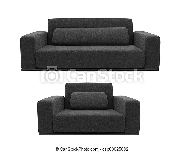 black sofa and chair isolated on white - csp60025082
