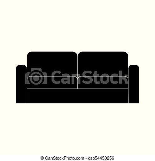 Black Sofa Icon Vector Illustration