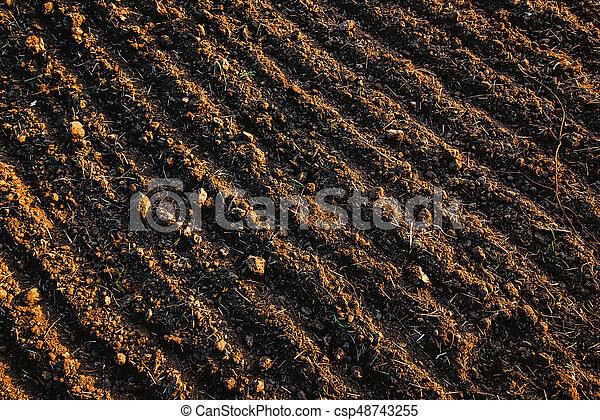 Black Soil Plowed Field Earth Texture Rustic Background