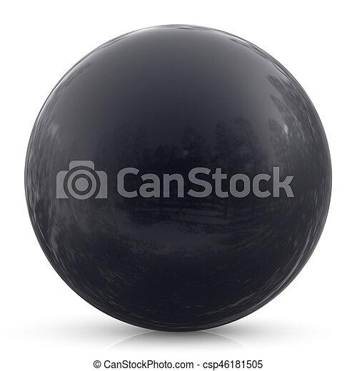Black sphere ball round button basic circle geometric shape - csp46181505