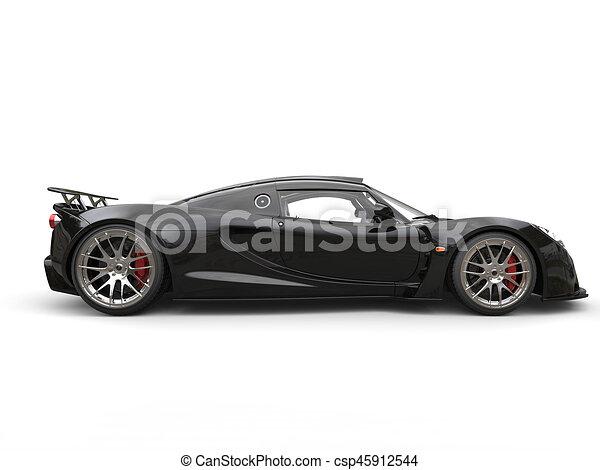 Black Sports Supercar Side View