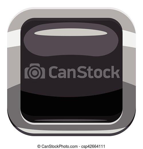 Black square button icon, cartoon style - csp42664111