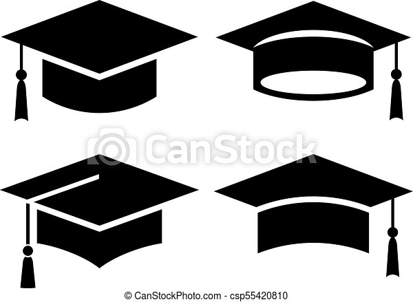 black square graduation hat icons set rh canstockphoto com graduation cap logo png graduation cap logo design