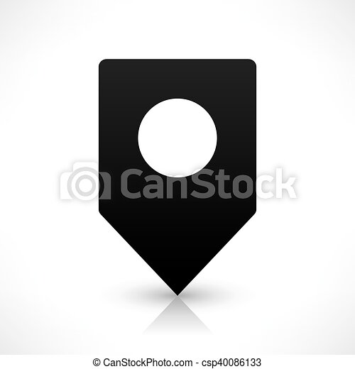Black square map pins sign flat location icon - csp40086133