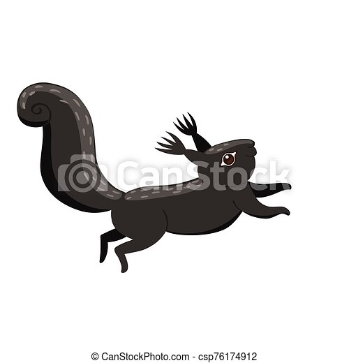 Black squirrel isolated on a white background. Vector graphics. - csp76174912