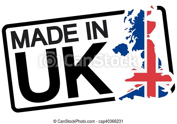 black stamp with text Made in UK - csp40366231