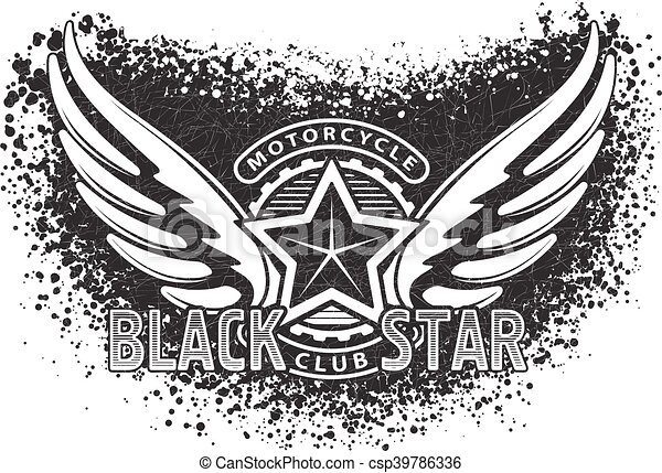 Black Star Motorcycle Club Design For Emblem Or Logo On Grunge Bacground