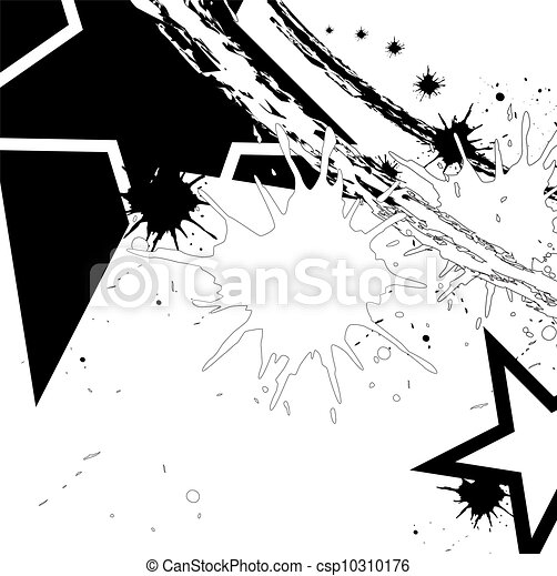black star with ink splatter - csp10310176