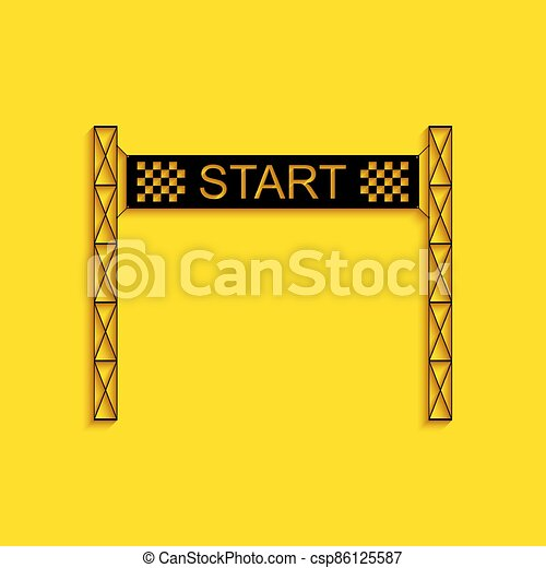 Black Starting line icon isolated on yellow background. Start symbol. Long shadow style. Vector - csp86125587