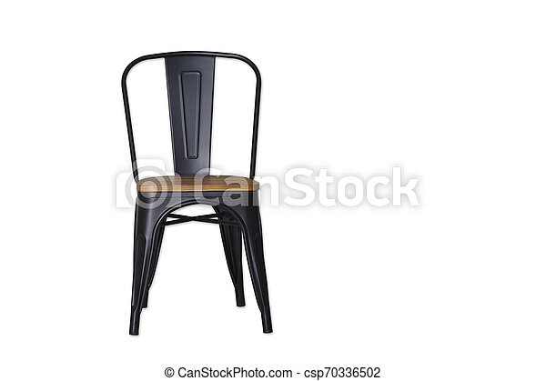 black steel chair clipping path on white - csp70336502