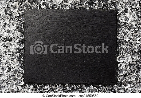 black stone plate on ice top view