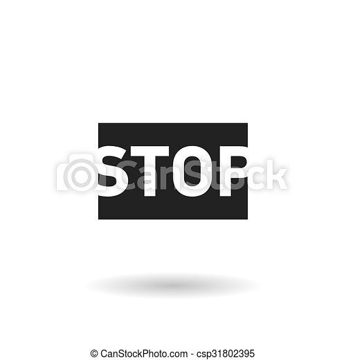 black stop sign flat vector icon - csp31802395