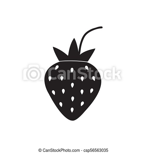 black strawberry icon isolated on white background. vector illustration - csp56563035