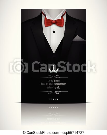 39ad0fed Vector illustration of black suit and tuxedo with red bow tie.