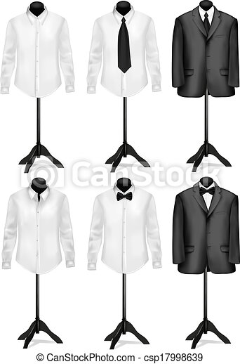 Black suit and white shirt with butterfly on mannequins. Vector illustration. - csp17998639