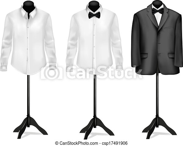 Black suit and white shirt with butterfly on mannequins. Vector illustration. - csp17491906